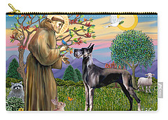 Saint Francis Blesses A Black Great Dane Carry-all Pouch