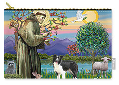 Saint Francis Blesses A Border Collie Carry-all Pouch