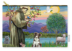 Saint Francis Blesses A Brown And White Border Collie Carry-all Pouch