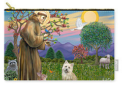 Saint Francis Blesses A Cairn Terrier Carry-all Pouch