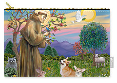 Saint Francis Blesses A Corgi And Her Pup Carry-all Pouch