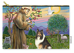 Saint Francis Blesses A Sable And White Collie Carry-all Pouch