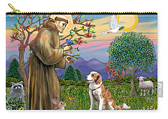 Saint Francis Blesses A Welsh Springer Spaniel Carry-all Pouch