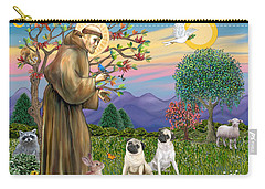 Saint Francis Blesses Two Fawn Pugs Carry-all Pouch