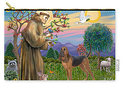 Saint Francis Blessing A Bloodhound Carry-all Pouch