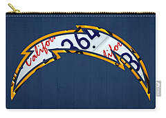 San Diego Chargers Football Team Retro Logo California License Plate Art Carry-all Pouch by Design Turnpike