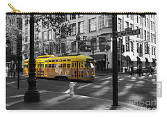 San Francisco Vintage Streetcar On Market Street - 5d19798 - Black And White And Yellow Carry-all Pouch