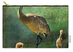 Sandhill And Chicks Carry-all Pouch by Barbara Chichester