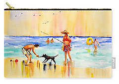 Sandy Dog At The Beach Carry-all Pouch by Carlin Blahnik
