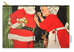 Carry-all Pouch featuring the painting Santa And Mrs by Alan Lakin