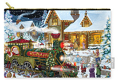 Santa Arrives In Rudolph Train Carry-all Pouch