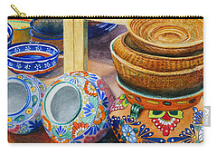 Carry-all Pouch featuring the painting Santa Fe Hold 'em Pots And Baskets by Karen Fleschler