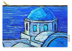 Santorini  Blue Carry-all Pouch by Ana Maria Edulescu