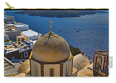 Santorini Caldera With Church And Thira Village Carry-all Pouch