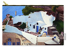 Santorini Cave Homes Carry-all Pouch by Mike Robles