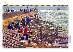 Carry-all Pouch featuring the photograph Saturday Morning On The Surfside Jetty by Gary Holmes