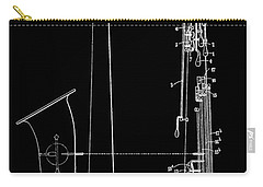 Saxophone Patent Black And White Carry-all Pouch by Dan Sproul