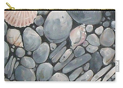 Scallop Shell And Black Stones Carry-all Pouch by Mary Hubley