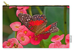 Scarlet Swallowtail Butterfly On Crown Of Thorns Flowers Carry-all Pouch