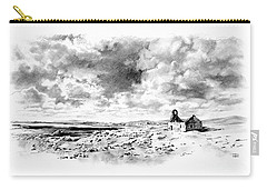 Carry-all Pouch featuring the drawing Bleak Chapel by Paul Davenport