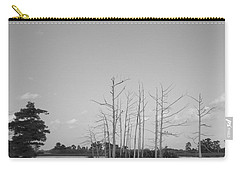 Carry-all Pouch featuring the photograph Scenic Swamp Cypress Trees Black And White by Joseph Baril