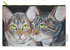 Carry-all Pouch featuring the painting Scheming Cats by Thomas J Herring