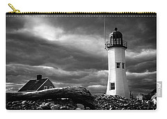 Carry-all Pouch featuring the photograph Scituate Lighthouse Under A Stormy Sky by Jeff Folger