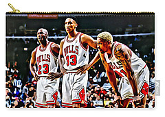 Scottie Pippen With Michael Jordan And Dennis Rodman Carry-all Pouch