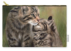 Scottish Wildcats Painting - In Support Of The Scottish Wildcat Haven Project Carry-all Pouch by Rachel Stribbling