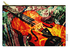 Carry-all Pouch featuring the mixed media Scribbled Fiddle by Ally  White