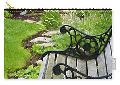 Scroll Bench Garden Scene Digital Artwork Carry-all Pouch by Sandra Foster
