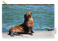 Sea Lion Posing On Boat Dock Carry-all Pouch