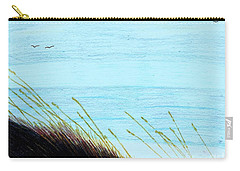 Carry-all Pouch featuring the drawing Sea Oats In The Wind Drawing by D Hackett