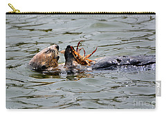 Carry-all Pouch featuring the photograph Sea Otter Munching On Crab Leg by Susan Wiedmann