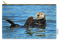Carry-all Pouch featuring the photograph Sea Otter Primping by Susan Wiedmann