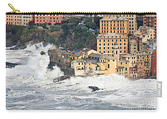 Carry-all Pouch featuring the photograph Sea Storm In Camogli - Italy by Antonio Scarpi