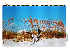 Carry-all Pouch featuring the photograph Seagull In Flight Beach Landing by Belinda Lee