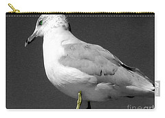 Carry-all Pouch featuring the photograph Seagull In Black And White by Nina Silver