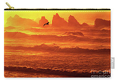 Carry-all Pouch featuring the photograph Seagull Soaring Over The Surf At Sunset Oregon Coast by Dave Welling