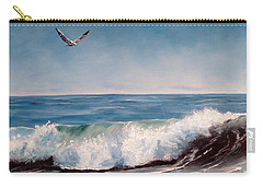 Carry-all Pouch featuring the painting Seagull With Wave  by Lee Piper