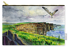 Seagulls At The Cliffs Of Moher Carry-all Pouch by John D Benson