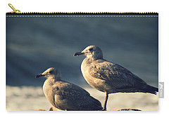 Carry-all Pouch featuring the photograph Seagulls On A Beach by Yulia Kazansky