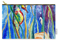 Seahorse And Shells Carry-all Pouch by Carlin Blahnik