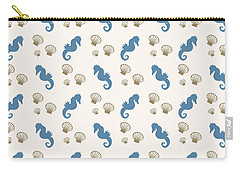 Seahorse And Shells Pattern Carry-all Pouch
