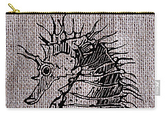 Seahorse On Burlap Carry-all Pouch