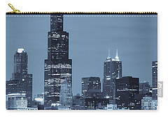 Carry-all Pouch featuring the photograph Sears Tower In Blue by Sebastian Musial