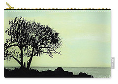 Carry-all Pouch featuring the drawing Seashore Silhouette by D Hackett