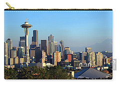Seattle City Skyline With Mt. Rainier Carry-all Pouch by Panoramic Images