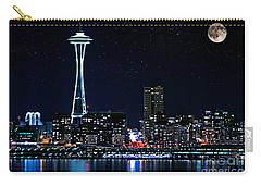 Seattle Skyline At Night With Full Moon Carry-all Pouch