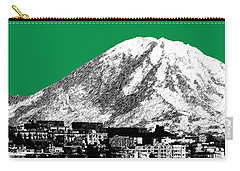 Seattle Skyline Mt. Rainier - Forest Green Carry-all Pouch